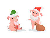 New Year pigs in Santa hats, gift box and sack. Piglets in festive outfits, winter holidays, zodiac symbol of Chinese horoscope vector illustrations