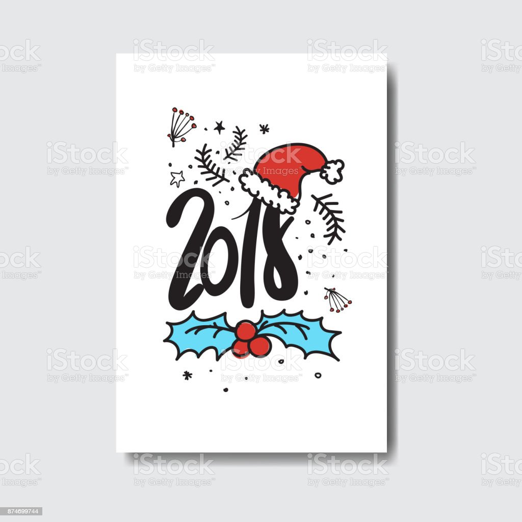 2018 new year postcard doodle isolated on white background cute 2018 new year postcard doodle isolated on white background cute holiday greeting card royalty free m4hsunfo