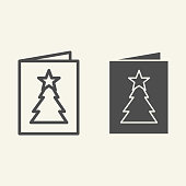 istock New Year postcard line and solid icon. Greeting card with Christmas tree outline style pictogram on white background. Winter party invitation letter for mobile concept and web design. Vector graphics. 1220229907