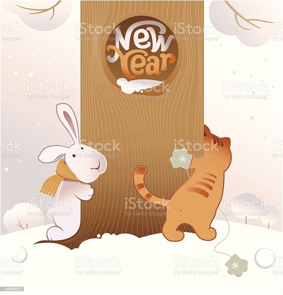 New Year postcard royalty-free stock vector art