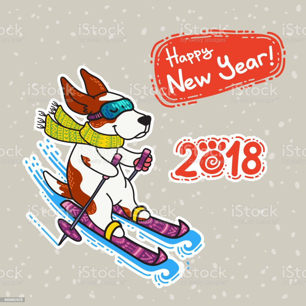 New Year postcard with dog in colorful sweater vector art illustration