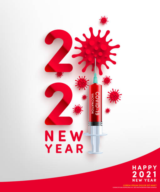 2021 new year poster and banner template with Symbol of 2021 from Virus cell and covid-19 vaccine syringe. COVID-19 Corona virus outbreaking and Pandemic medical health risk for 2021 year concept. 2021 new year poster and banner template with Symbol of 2021 from Virus cell and covid-19 vaccine syringe. COVID-19 Corona virus outbreaking and Pandemic medical health risk for 2021 year concept. covid vaccine stock illustrations
