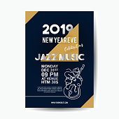 2019 new year poster template for jazz music concert win single line classical cello player vector. Vector illustration eps 10.
