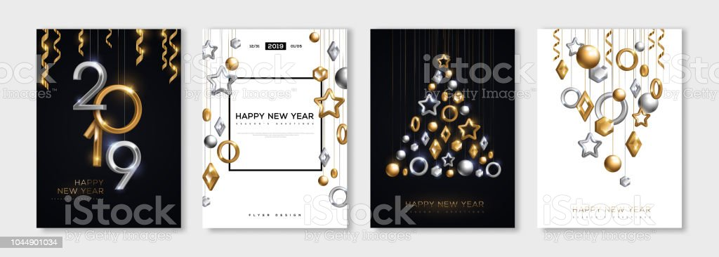 New Year posters set vector art illustration