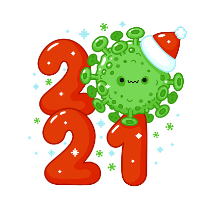 2021 New Year print with Scary virus cell