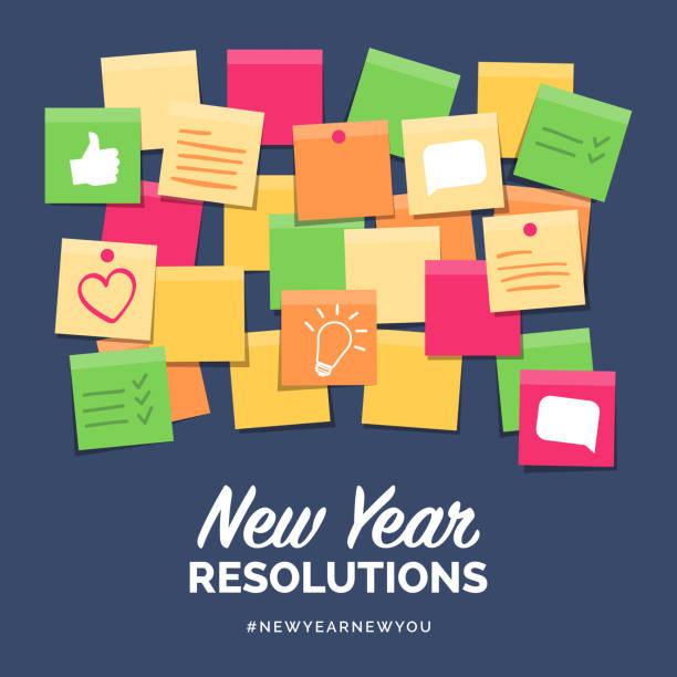 neujahrsvorsätze auf sticknoten - klebezettel stock-grafiken, -clipart, -cartoons und -symbole