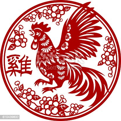 Traditional papercut rooster art in circle floral frame of Year of the Rooster.