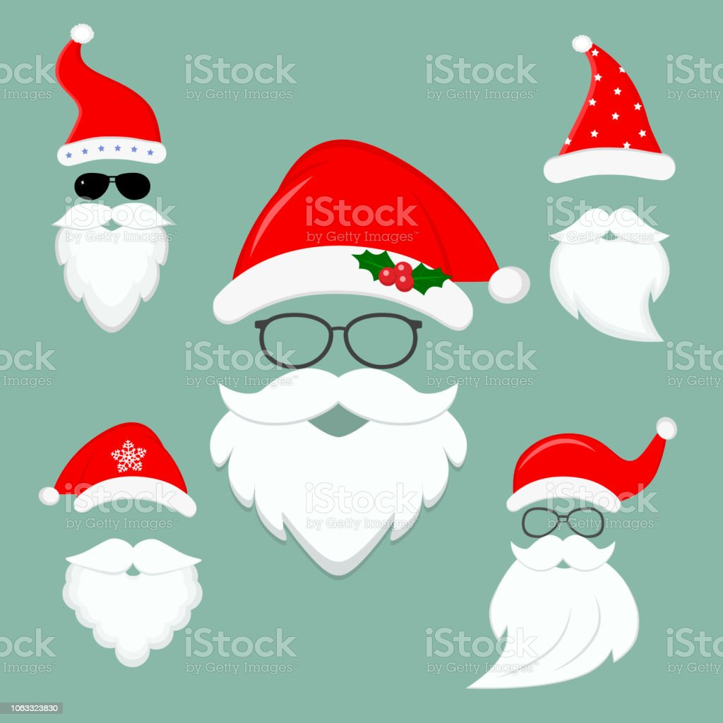 78389264059 New Year S Collection Of Clothes Santa Hats Beards And Glasses ...