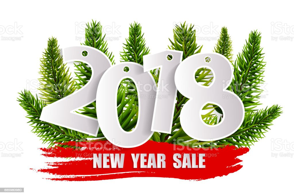 new year sale 2018 concept isolated on transparent background vector illustration royalty free new
