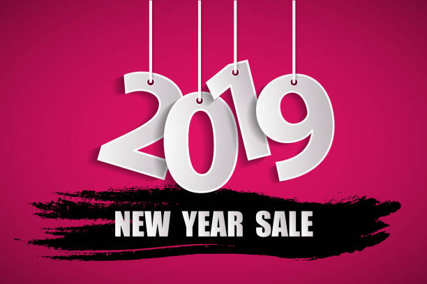 New Year sale 2019 pink concept. Vector illustration vector art illustration