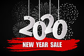 New Year sale 2020 black concept with fireworks. 2020 sign made with paper cuted white numbers on ropes. Origami style numbers. Christmas and Chinese New Year decor. Vector illustration