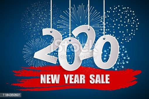 New Year sale 2020 blue concept with fireworks. 2020 sign made with paper cuted white numbers on ropes. Origami style numbers. Christmas and Chinese New Year decor. Vector illustration