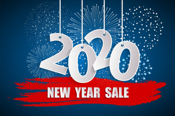 New Year sale 2020 blue concept with fireworks. 2020 sign made with paper cuted white numbers on ropes. Origami style numbers. Christmas and Chinese New Year decor. Vector illustration vector art illustration