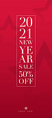 2021 New Year sale banner concept for advertising, banners, leaflets and flyers. Vector illustration.