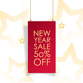 New Year sale banner concept for advertising, banners, leaflets and flyers. Vector illustration.