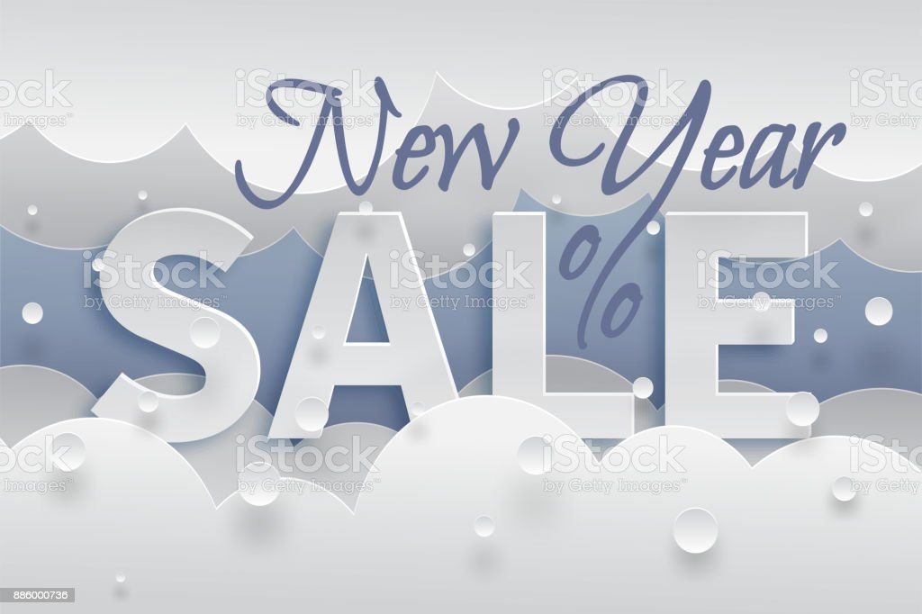 new year sale banner template with white snow and clouds text with shadows on blue