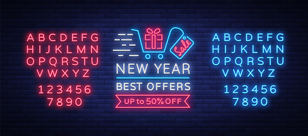 New Year Sale Card in Neon Style. Neon sign poster on New Year's sales and discounts. Flyer, Postcard, banner, night shining sign of holiday discounts. Vector illustration. Editing text neon sign