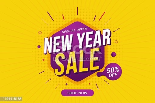 istock New Year sale discount banner template promotion design for business 1194418188