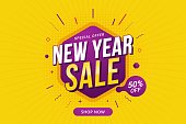 New Year sale discount banner template promotion design for business