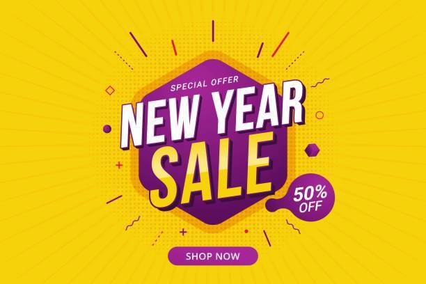 illustrazioni stock, clip art, cartoni animati e icone di tendenza di modello di promozione del banner sconto vendita di capodanno per le aziende - sales