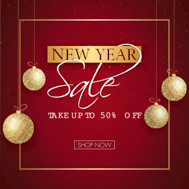 New Year Sale poster or template design with 50% discount offer and hanging baubles decorated on red background. vector art illustration