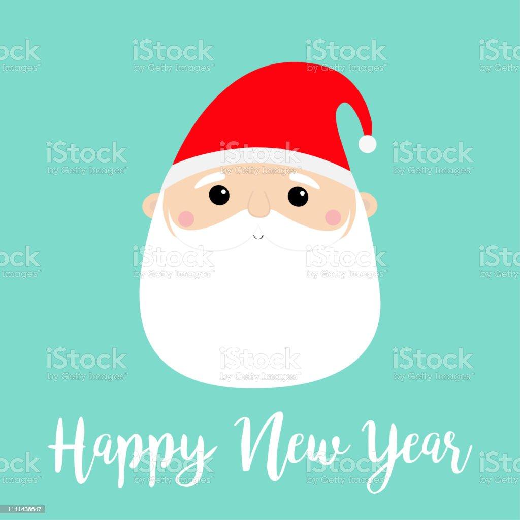 Nouvel An Visage De Père Noël Tête Ronde Icône Joyeux Noël