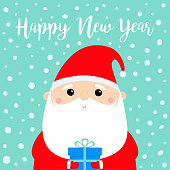 New Year. Santa Claus holding gift box. Funny face head. Candy cane. Merry Christmas. Red hat. Moustaches, beard. Cute cartoon funny kawaii baby character. Flat design. Blue snow background. Vector
