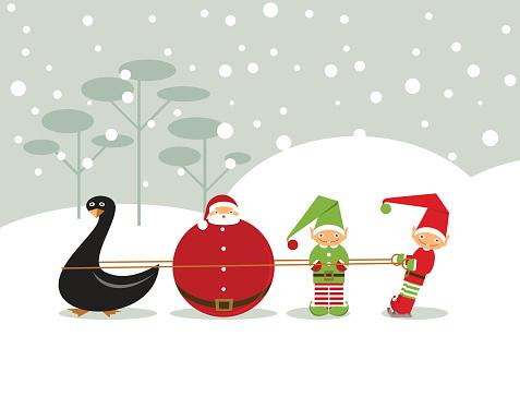 New year santa duck elf christmas greeting card