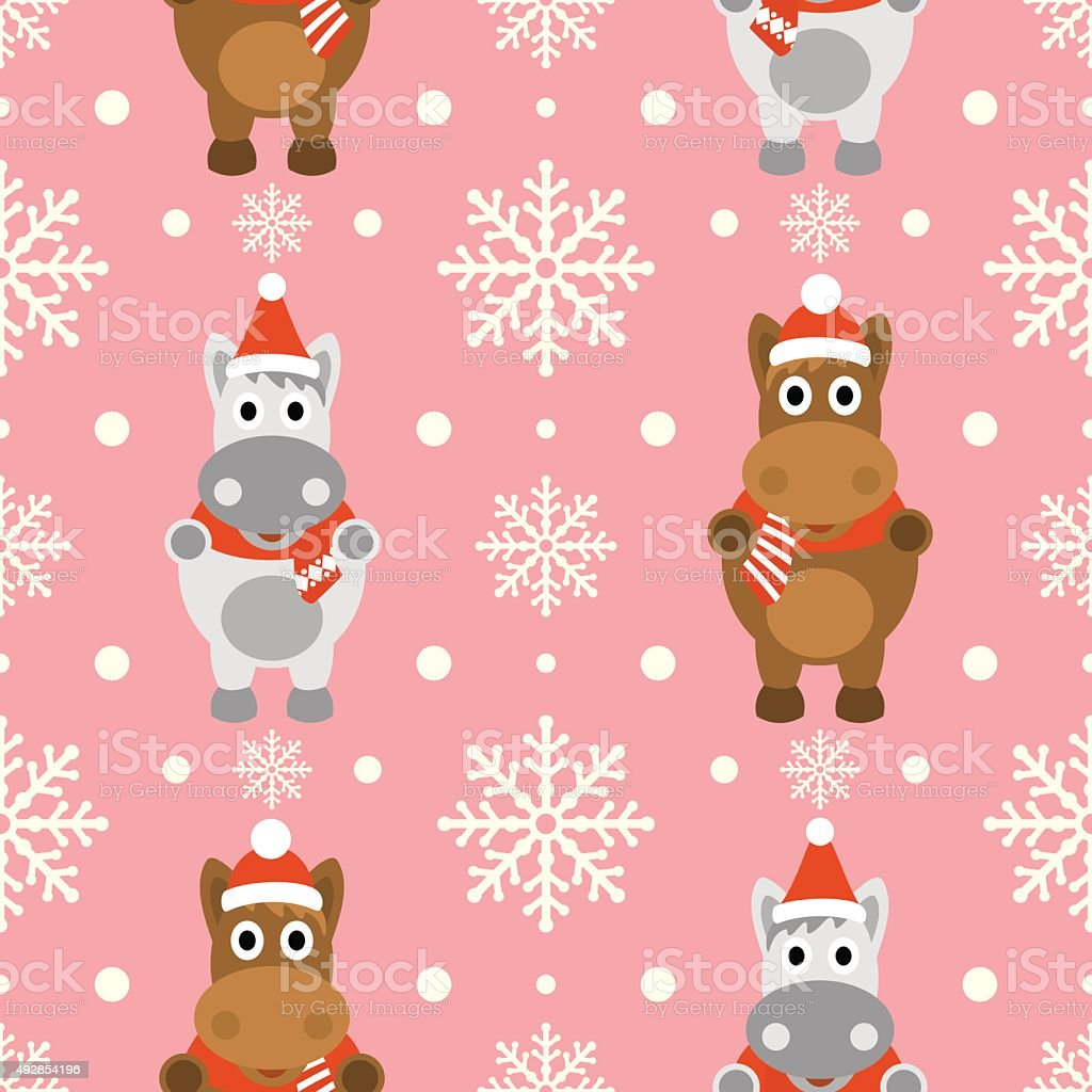 New Year seamless background with horse