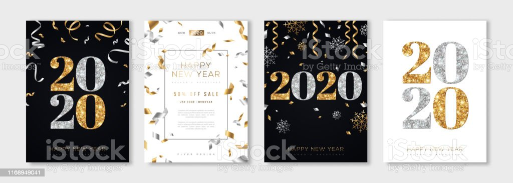 2020 New Year set - Royalty-free 2020 arte vetorial