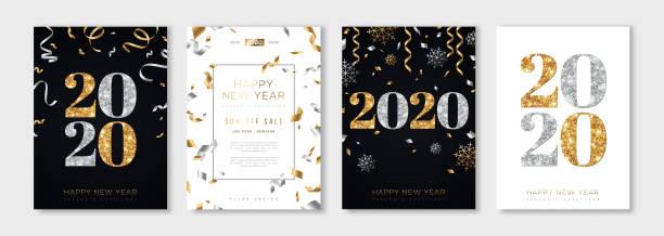 ilustraciones, imágenes clip art, dibujos animados e iconos de stock de set de año nuevo 2020 - año nuevo