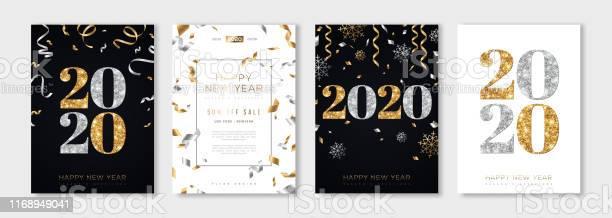 2020 New Year Set - Arte vetorial de stock e mais imagens de 2020