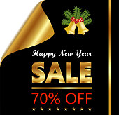 New Year seventy percent sale on a golden and black curled luxury paper.