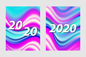 2020 New year sign on a fashionable abstract background of bright multi-colored waves. Vector illustration.