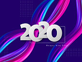 2020 New Year sign on trendy abstract wave liquid background. 3d fluid shapes composition, color flow minimal design. Vector illustration.