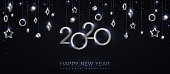2020 silver numbers with stars and baubles hanging on black background. Vector illustration. Minimal invitation design for Christmas and New Year. Winter holiday decorations