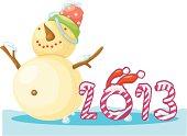 New Year Snow Man