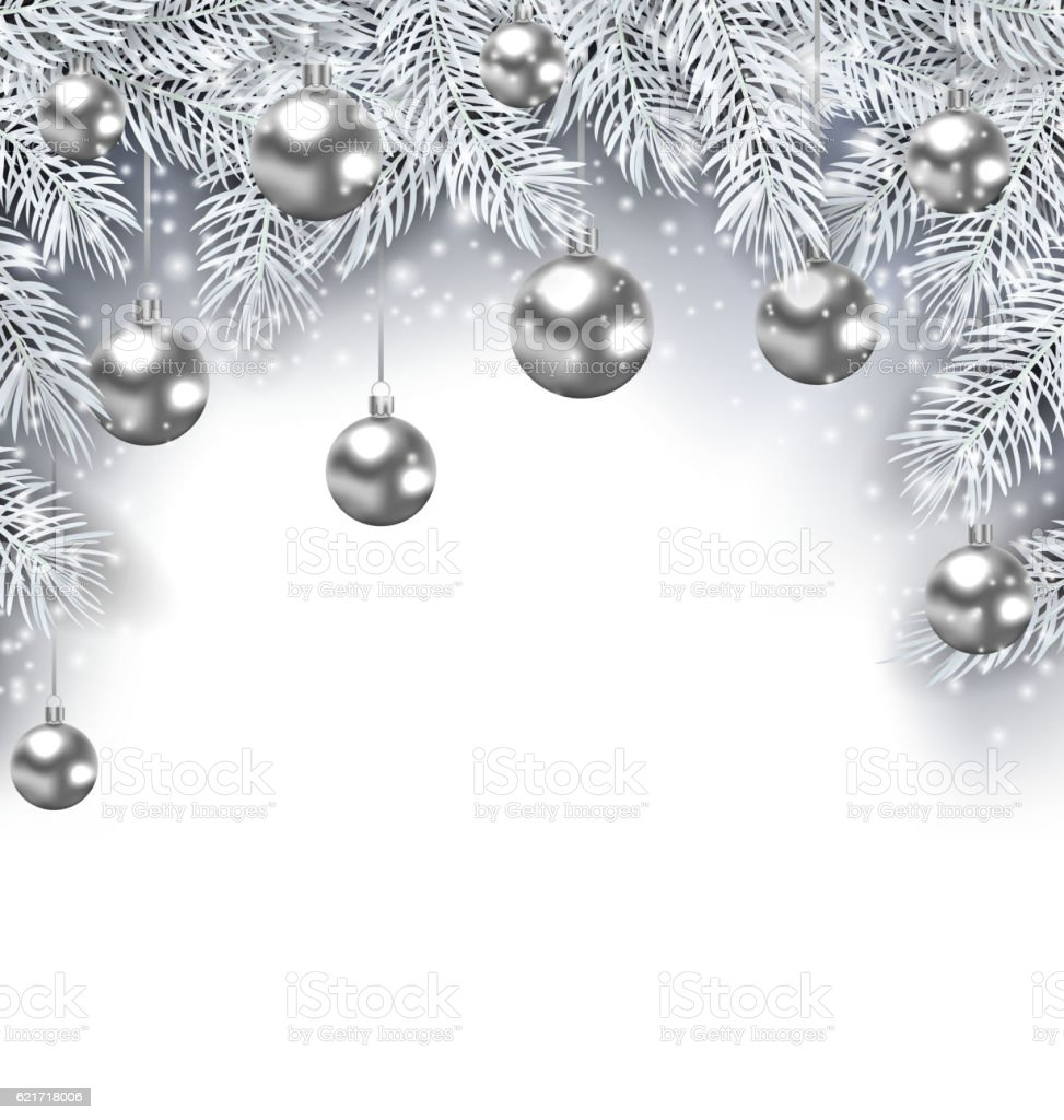 New Year Snowing Background With Silver Christmas Balls Stock Vector
