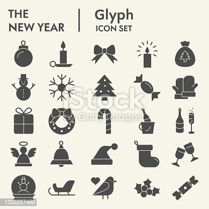 New year solid icon set. Wnter collection or sketche, symbols. Happy New Year holiday signs for web, glyph style pictogram package isolated on white background. Vector graphic