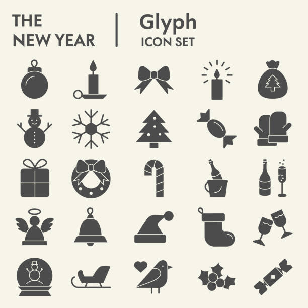 ilustrações de stock, clip art, desenhos animados e ícones de new year solid icon set. wnter collection or sketche, symbols. happy new year holiday signs for web, glyph style pictogram package isolated on white background. vector graphic. - christmas cake