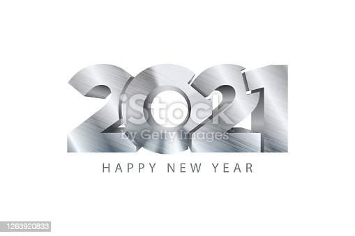 2021 new year symbol. Vector graphic 3d design. Metal texture steel effect.