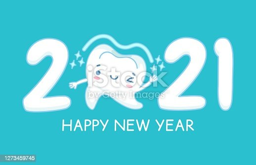 istock New year teeth. Happy holiday 2021 year banner with funny healthy white tooth, childrens dentistry, oral hygiene care dental vector concept 1273459745