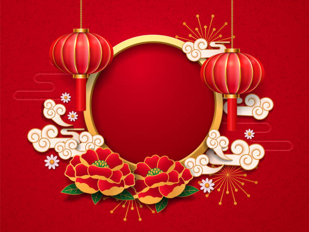 2019 새 해 템플릿, 중국어, 꽃 - chinese new year stock illustrations