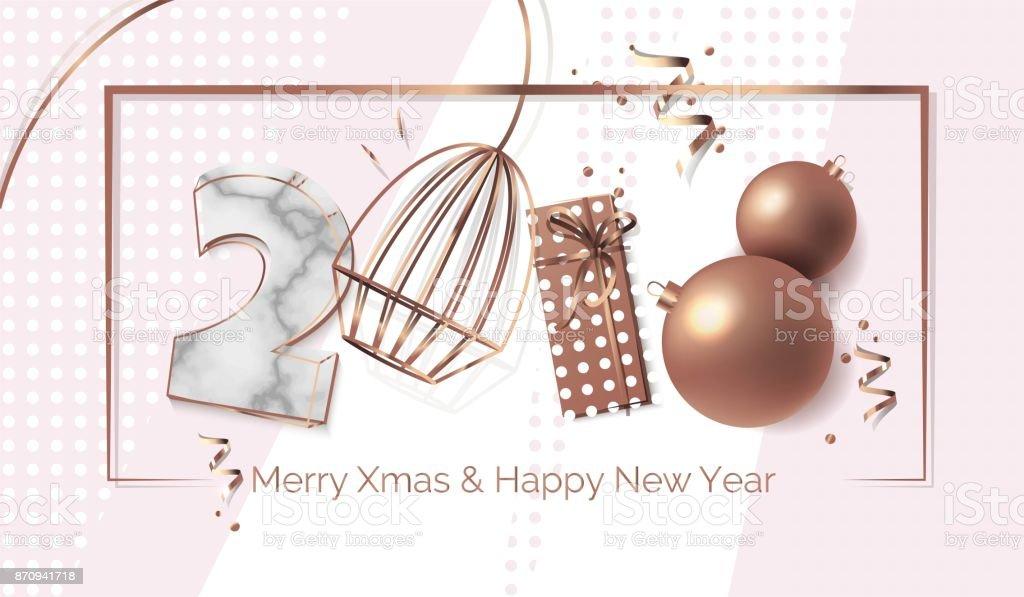 2018 New Year text design. vector art illustration