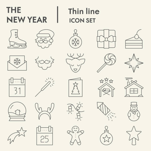 ilustrações de stock, clip art, desenhos animados e ícones de new year thin line icon set, christmas symbols set collection or vector sketches. winter holiday signs set for computer web, the linear pictogram style package isolated on white background, eps 10. - christmas cake