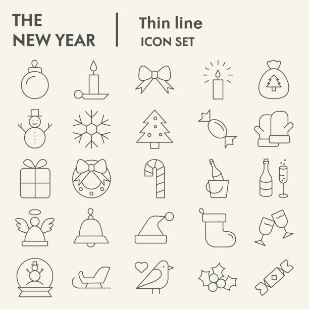 ilustrações de stock, clip art, desenhos animados e ícones de new year thin line icon set. wnter collection or sketche, symbols. happy new year holiday signs for web, outline style pictogram package isolated on white background. vector graphic. - christmas cake
