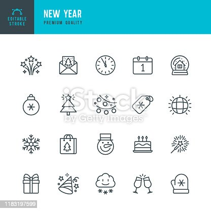 New Year - thin line vector icon set. 20 linear icon. Editable stroke. Pixel Perfect. Set contains such icons as Winter, New Year, Gift, Christmas, Sparklers, Christmas Tree, Party, Fireworks, Calendar, Snowman, Shopping, Party Hat, Invitation.