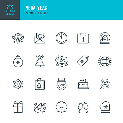 New Year - thin line vector icon set. Editable stroke. Pixel Perfect. Set contains such icons as New Year, Winter, Gift, Christmas Tree, Christmas, Snowflake, Calendar, Sparklers, Clock.