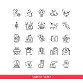 New Year - thin line vector icon set.Editable Stroke