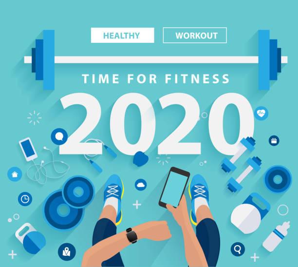 bildbanksillustrationer, clip art samt tecknat material och ikoner med 2020 nya året tid för fitness i gymmet hälsosam livsstil idéer koncept design, vektor illustration modern layout mall - calendar workout